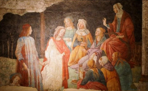 Young Man Greted by the Seven Liberal Arts from the Villa Lemmi fresco Wall Mural